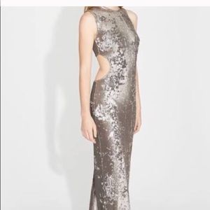 Halston Heritage Silver Sequin cur out gown